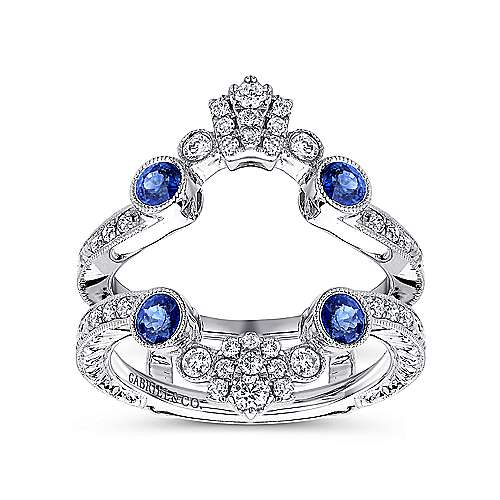 Vintage 14K White Gold Sapphire and Diamond Ring Enhancer