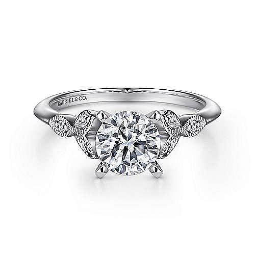 Vintage 14K White Gold Split Shank Round Diamond Engagement Ring