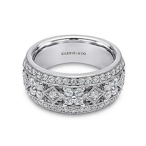 Vintage 14K White Gold Wide Band Openwork Diamond Ring
