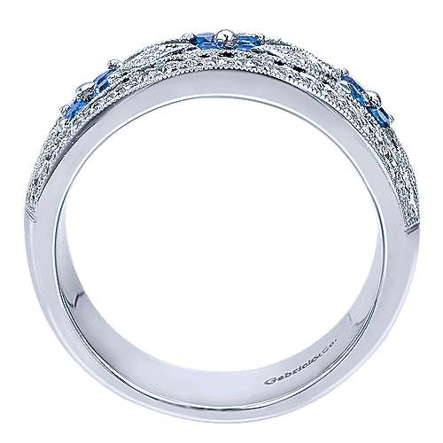 Vintage 14K White Gold Wide Openwork Diamond and Sapphire Band