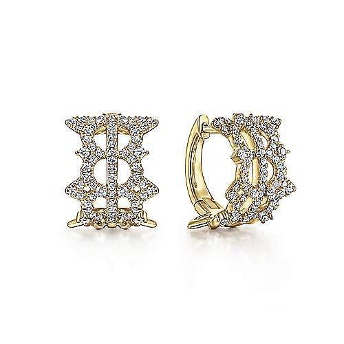 Vintage 14K Yellow Gold 15MM Diamond Earrings