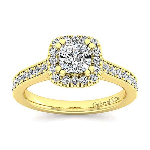 Vintage 14K Yellow Gold Cushion Halo Diamond Engagement Ring