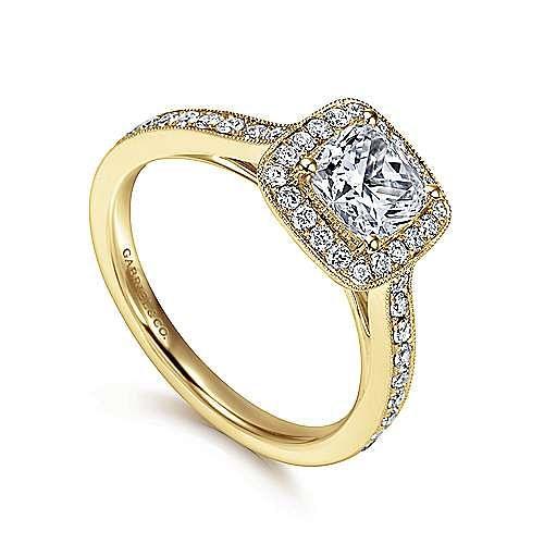 Vintage 14K Yellow Gold Cushion Halo Diamond Engagement Ring