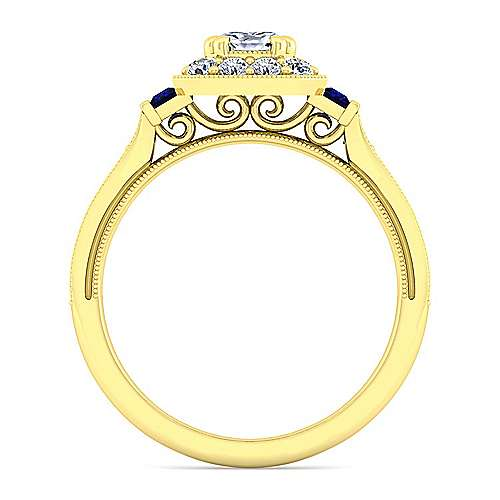 Vintage 14K Yellow Gold Cushion Halo Sapphire and Diamond Engagement Ring