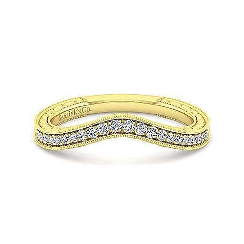 Vintage 14K Yellow Gold Diamond Matching Wedding Band