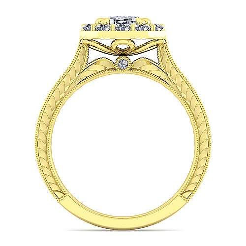 Vintage 14K Yellow Gold Emerald Halo Diamond Engagement Ring