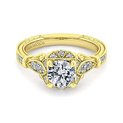 Gabriel - Vintage 14K Yellow Gold Halo Diamond Engagement Ring
