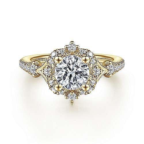 Gabriel - Vintage 14K Yellow Gold Halo Diamond Engagement Ring