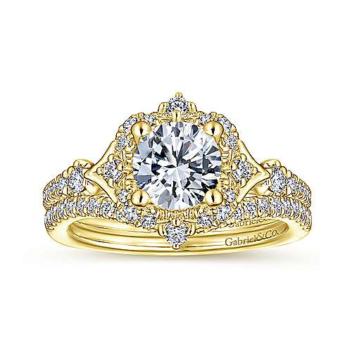 Vintage 14K Yellow Gold Halo Diamond Engagement Ring