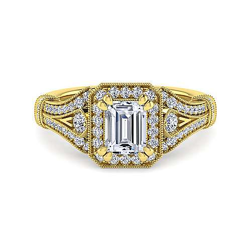Vintage 14K Yellow Gold Halo Emerald Cut Diamond Engagement Ring