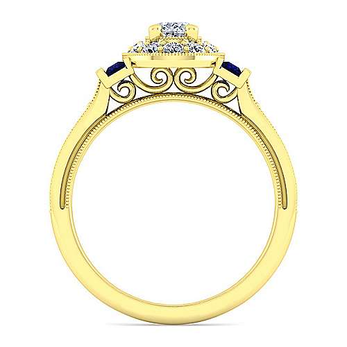 Vintage 14K Yellow Gold Oval Halo Sapphire and Diamond Engagement Ring