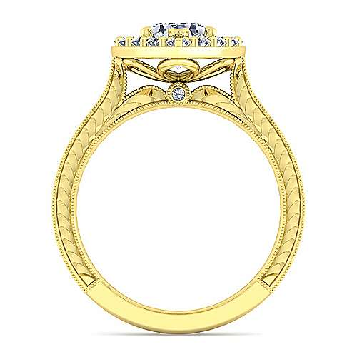 Vintage 14K Yellow Gold Pear Shape Halo Diamond Engagement Ring
