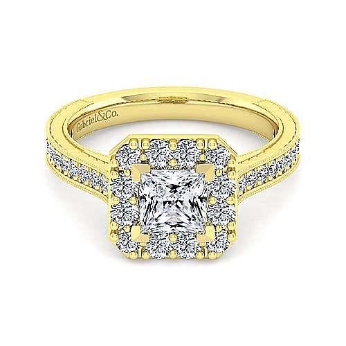 Vintage 14K Yellow Gold Princess Halo Diamond Engagement Ring