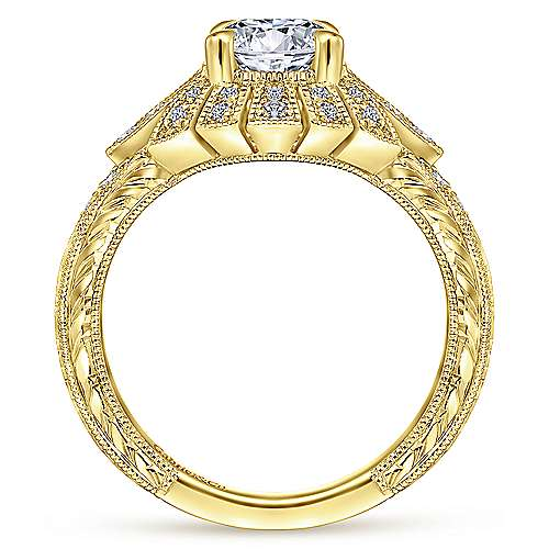 Vintage 14K Yellow Gold Round Diamond Engagement Ring