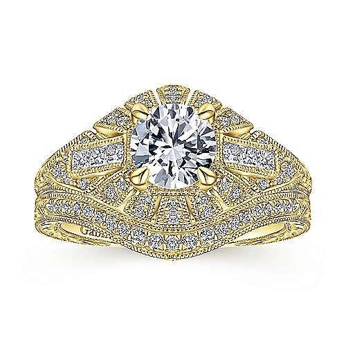 Vintage 14K Yellow Gold Round Diamond Engagement Ring