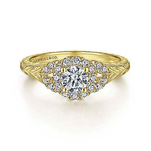 Gabriel - Vintage 14K Yellow Gold Round Halo Diamond Engagement Ring