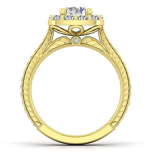 Vintage 14K Yellow Gold Round Halo Diamond Engagement Ring