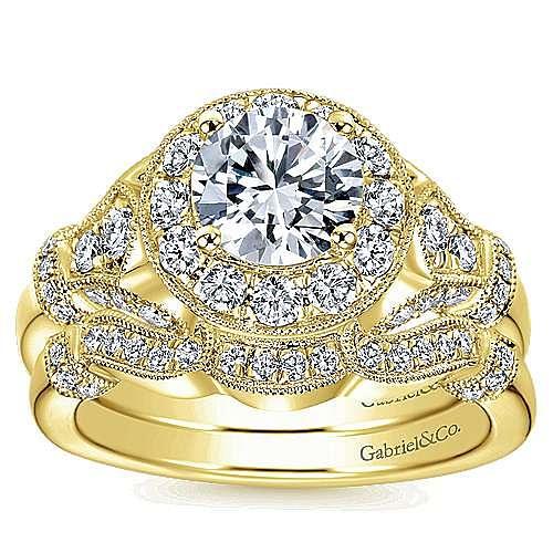 Vintage 14K Yellow Gold Round Halo Diamond Engagement Ring