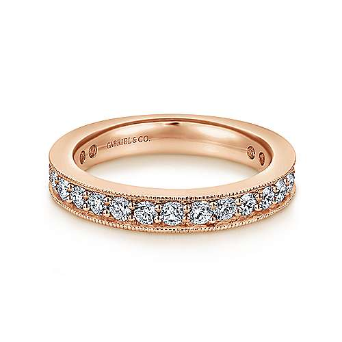 Gabriel - Vintage 14k Rose Gold Channel Prong Set Eternity Band
