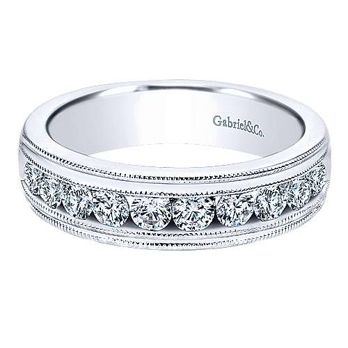 Gabriel - Vintage 14k White Gold 10 Stone Channel Set Band