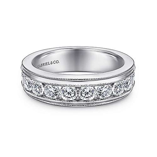 Gabriel - Vintage 14k White Gold 11 Stone Channel Set Band