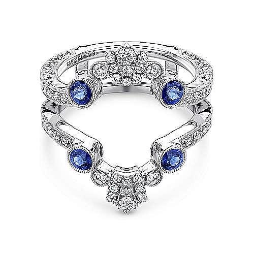 Gabriel - Vintage 14k White Gold A Quality Sapphire and Diamond Enhancer