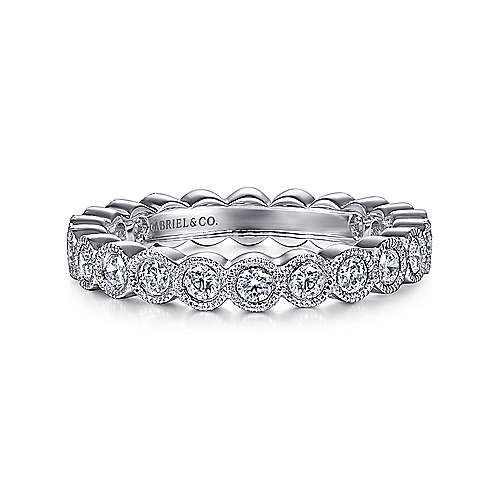 Vintage 14k White Gold Bezel Set Diamond Eternity Band