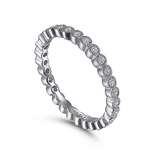 Vintage 14k White Gold Bezel Set Eternity Band
