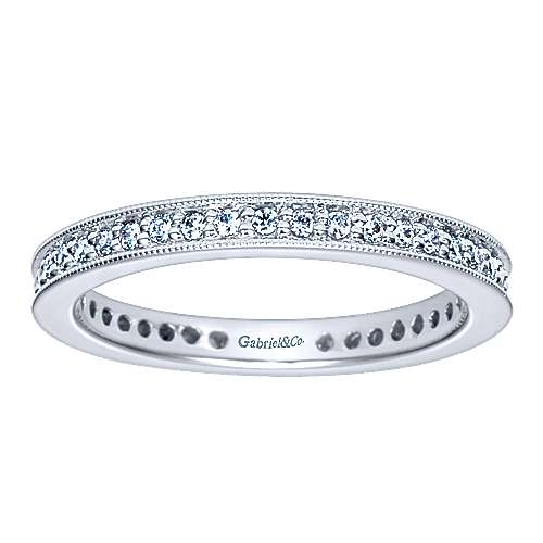 Vintage 14k White Gold Channel Prong  Eternity Band