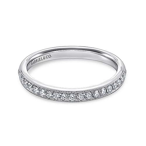 Gabriel - Vintage 14k White Gold Channel Prong Set Band