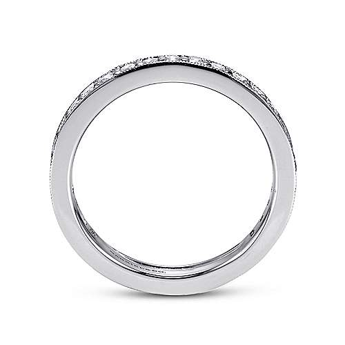 Vintage 14k White Gold Channel Prong Set Eternity Band