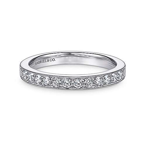Gabriel - Vintage 14k White Gold Channel Prong Set Round 16 Stone Diamond Anniversary Band