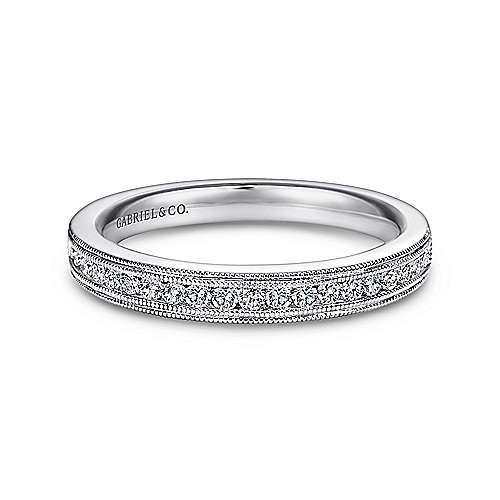 Gabriel - Vintage 14k White Gold Channel Set Band