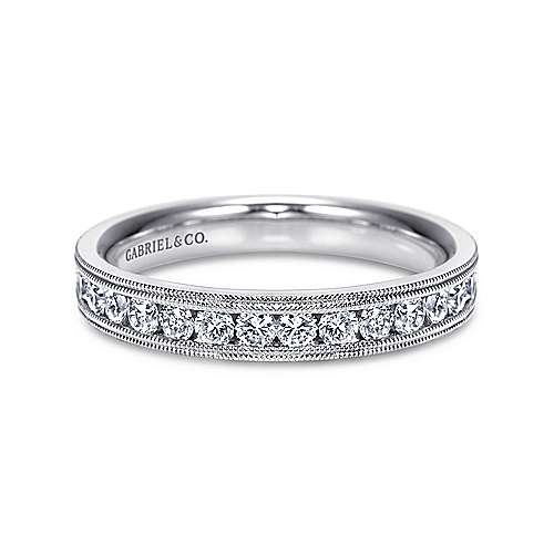 Vintage 14k White Gold Channel Set Diamond Band