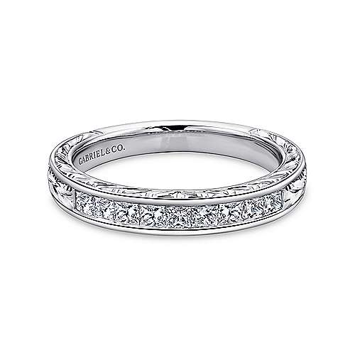 Gabriel - Vintage 14k White Gold Channel Set Hand Carved Princess Cut 9 Stone Diamond Anniversary Band