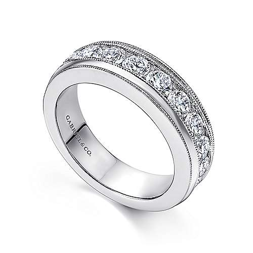 Vintage 14k White Gold Channel Set Round 11 Stone Diamond Anniversary Band angle 3