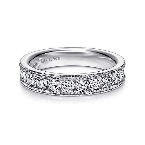 Gabriel - Vintage 14k White Gold Channel Set Round 16 Stone Diamond Anniversary Band
