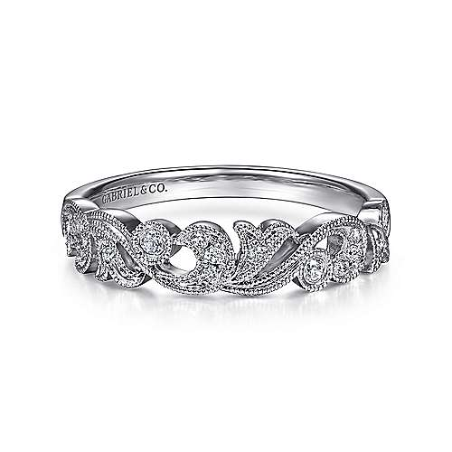 Gabriel - Vintage 14k White Gold Fancy Anniversary Band