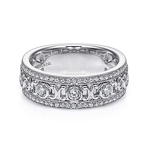 Gabriel - Vintage 14k White Gold Fancy Diamond Anniversary Band