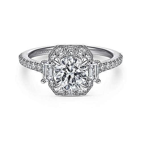 Gabriel - Vintage 14k White Gold Fancy Halo Round Diamond Engagement Ring
