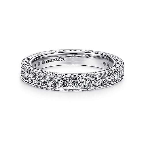Vintage 14k White Gold Hand Engraved Channel Set  Eternity Band