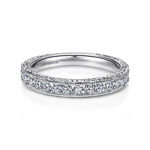 Gabriel - Vintage 14k White Gold Hand Engraved Channel Set Band