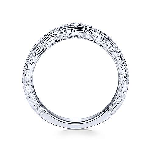 Vintage 14k White Gold Hand Engraved Curved Channel Set Band