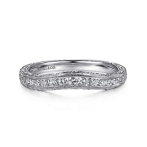 Gabriel - Vintage 14k White Gold Hand Engraved Curved Channel Set Band