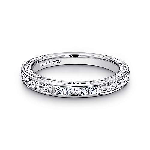 Gabriel - Vintage 14k White Gold Hand Engraved Princess Cut 5 Stone Channel Set Band