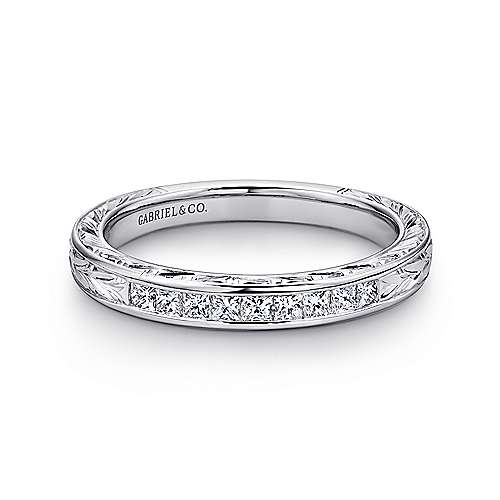 Gabriel - Vintage 14k White Gold Hand Engraved Princess Cut 9 Stone Channel Set Band