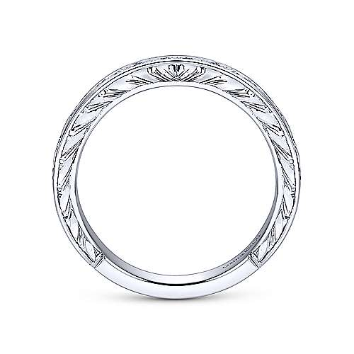 Vintage 14k White Gold Hand Engraved Princess Cut 9 Stone Channel Set Band