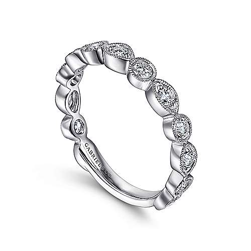 Vintage 14k White Gold Marquis and Round  Shape Diamond Ring