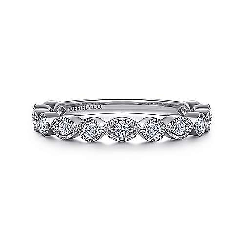 Gabriel - Vintage 14k White Gold Marquis and Round Shape Diamond Band