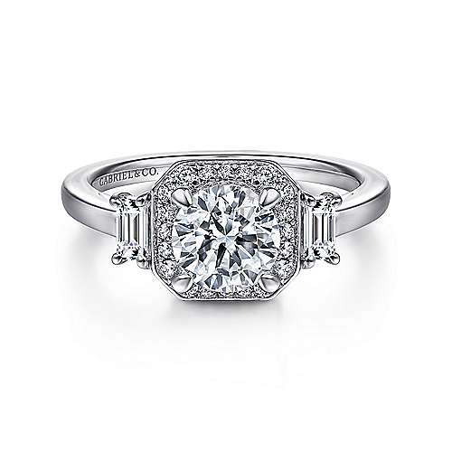 Gabriel - Vintage 14k White Gold Octagonal Halo Round Diamond Engagement Ring